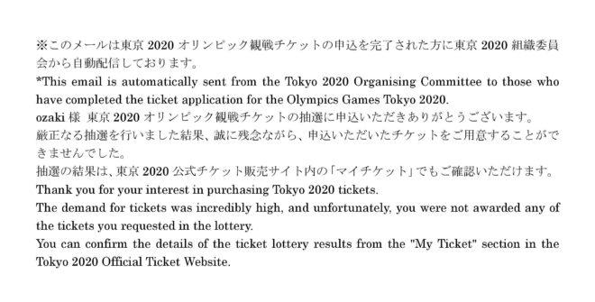 東京2020オリンピック観戦チケットの抽選結果は・・・