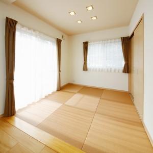 薄茶色の縁無畳を貼った4.5帖の畳スペース。リビングの続き間としてもマッチした色合いで、窓にカーテンを採用しても違和感がありません。